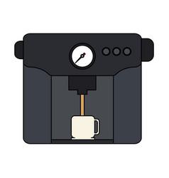 Color graphic coffee espresso machine with mug vector