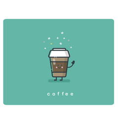 flat icon friendly coffee box character vector image vector image