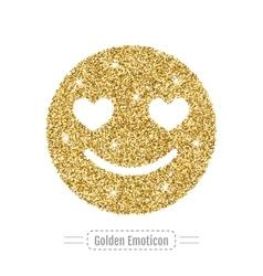Golden glitter emoticon romantic icon vector