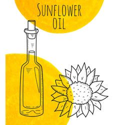Hand drawn sunflower bottle with yellow watercolor vector