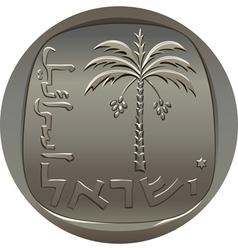 Israeli coin 10 ten agora with the image of the da vector