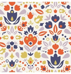 Ornamental folk tulips seamless pattern background vector image