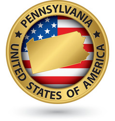Pennsylvania state gold label with state map vector