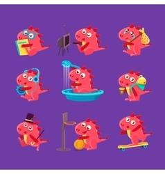 Red dragon everyday activities set of vector
