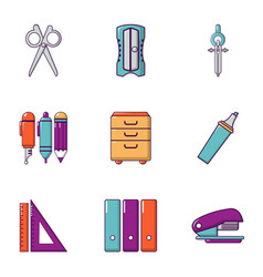 School stuff icons set flat style vector