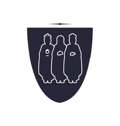 Silhouette shield with the wise men vector