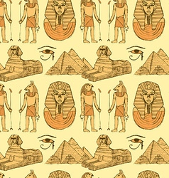 Sketch Egyptian symbols in vintage style vector image