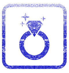 sparkle diamond ring framed textured icon vector image