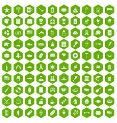 100 usa icons hexagon green vector
