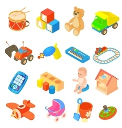 Childrens toys icons set flat style vector image