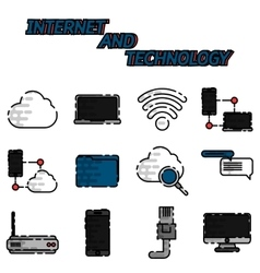 Internet and technology flat icon set vector