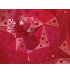Abstract triangle background with hearts vector