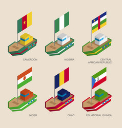 isometric ships with flags of african countries vector image