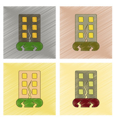 Assembly flat shading style icon earthquake house vector