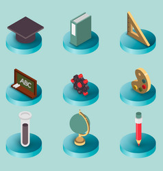 Education flat isometric set vector