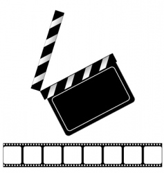 Movie clapper board and filmstrip vector