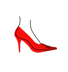 Foot in a red shoe diagram vector