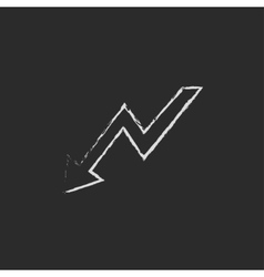 Arrow downward icon drawn in chalk vector