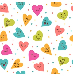 Seamless pattern with hand drawn smiley hearts vector
