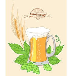Vintage poster or greeting card for beer festival vector