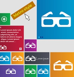 3d glasses icon sign buttons modern interface vector