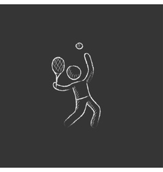 Man playing big tennis drawn in chalk icon vector