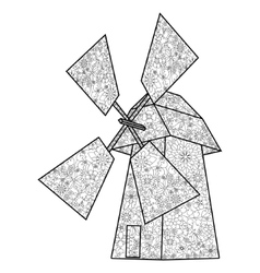 Wind mill coloring book for adults vector image