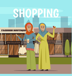 Arabic woman and shopping background vector