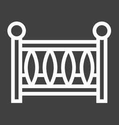 Baby crib line icon baby cot and bed vector