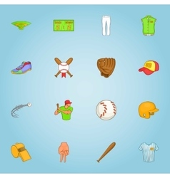 Baseball icons set cartoon style vector