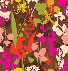 berryes an flowers seamless pattern vector image vector image