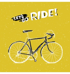 Bicycle yellow poster vector