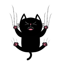 Black fat cat nail claw scratch glass screaming vector