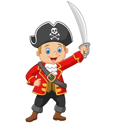 Cartoon captain pirate holding a sword vector image