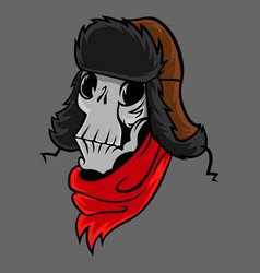 cartoon skull in a winter hat vector image