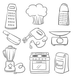 doodle of kitchen equipment hand draw vector image vector image