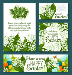 Easter floral greeting card and banner template vector