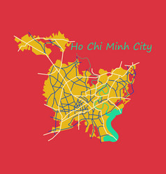 Flat ho chi minh city administrative map vector