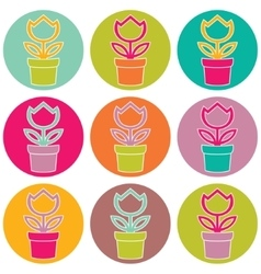 Flower in pot color set on white background vector image vector image