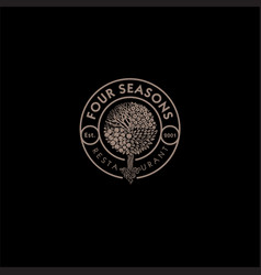 four seasons wood logo vector image