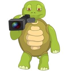 Funny Turtle Cameraman vector image vector image