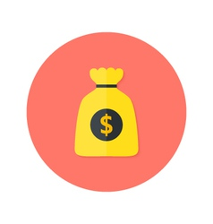 Gold money bag flat circle icon vector