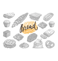 Hand drawn bread and pastries set vector