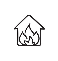House on fire sketch icon vector