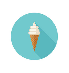 Ice cream with waffle cone vector