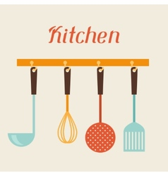 Kitchen and restaurant utensils spatula whisk vector image