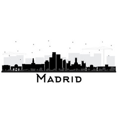 Madrid spain skyline black and white silhouette vector