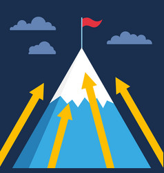 mountain with flag on top business success vector image vector image