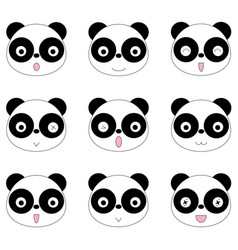 Panda face many emotions vector