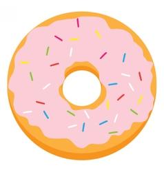 Pink glazed ring doughnut vector